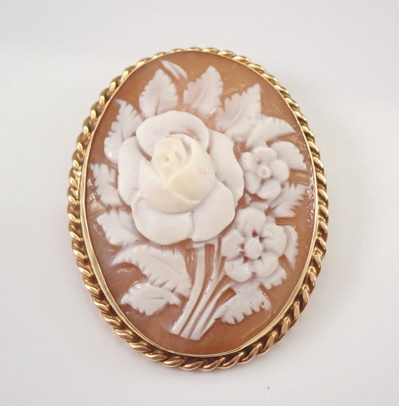 Antique Vintage 14K Yellow Gold Large Flower Bouquet Cameo Brooch Pin Pendant