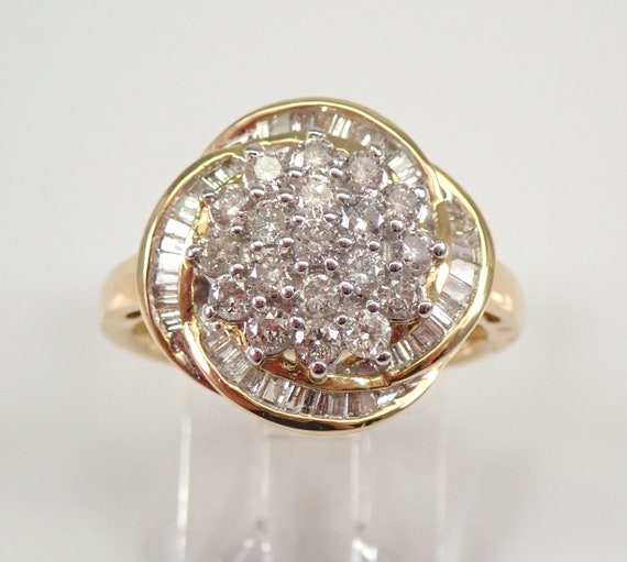 1.00 carat Diamond Cluster Cocktail Ring Right Hand Ring Yellow Gold Size 7.25 FREE SIZING