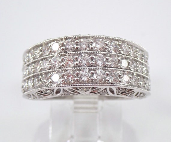 White Gold 1.50 ct Diamond Wedding Ring Multi Row Wide Anniversary Band Size 7 FREE Sizing
