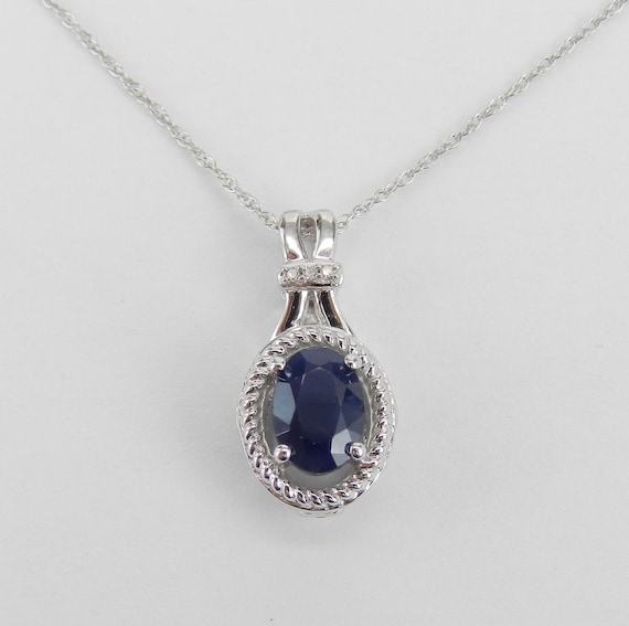 14K White Gold Pendant, Sapphire Necklace, Sapphire and Diamond, Sapphire Halo Pendant, September Gemstone, White Gold Chain
