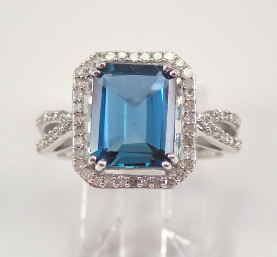 London Blue Topaz and Diamond Halo Engagement Ring Emerald Cut White Gold Size 7