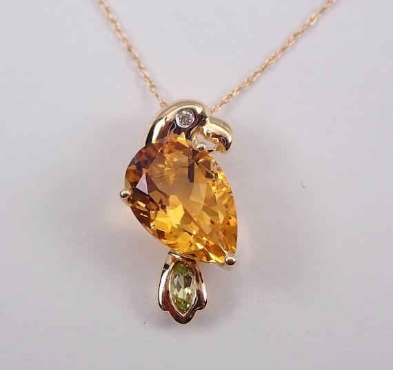 "Diamond, Citrine and Peridot Parrot Bird Necklace Pendant 14K Yellow Gold 18"" Chain November Gemstone"