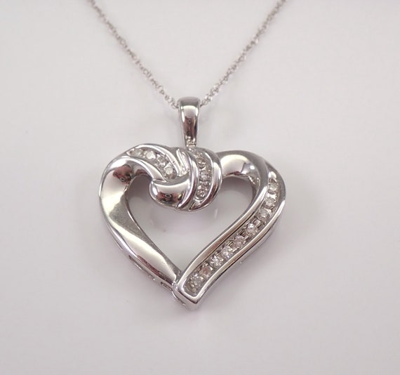 "Diamond Heart Pendant Necklace White Gold Chain 18"" Wedding Gift Love Gift"