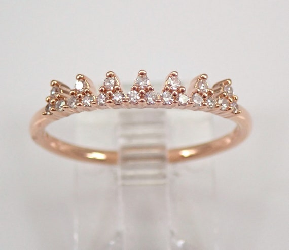 Modern Diamond Crown Cocktail Ring Rose Gold Stackable Fashion Ring Size 7.25 FREE Sizing
