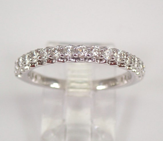 Diamond Wedding Ring Stackable Anniversary Band 14K White Gold Size 7.25 FREE SIZING