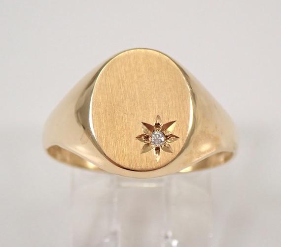 Vintage Boys Mens Unisex Yellow Gold Diamond Signet Ring Pinky Ring Size 6.75