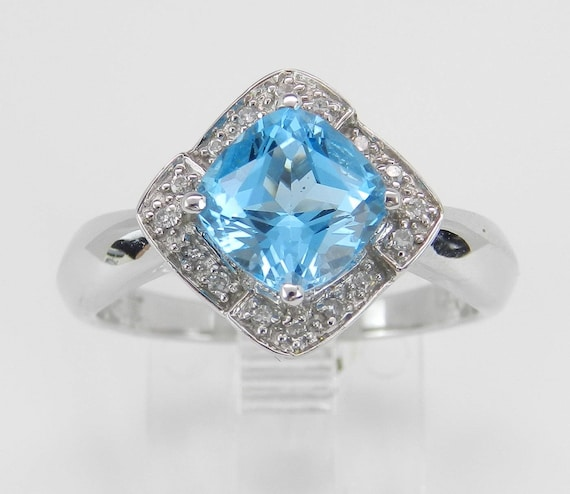 SUPER SALE! Blue Topaz Ring, Cushion Cut Engagement Ring, Diamond and Blue Topaz Halo Ring, 14K White Gold Ring FREE Sizing