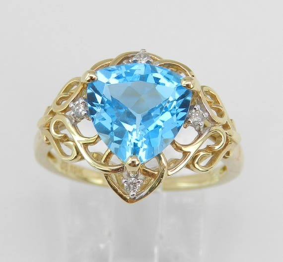 Diamond and Trillion Blue Topaz Engagement Promise Ring Yellow Gold Size 6.75 December Gem