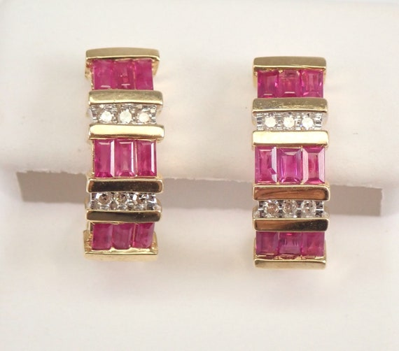Ruby and Diamond Half Hoop Earrings Yellow Gold MUST SEE July Gemstone