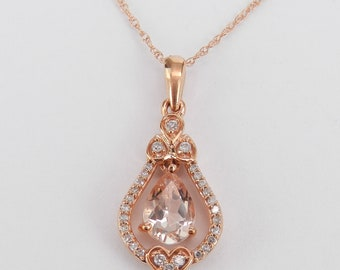 """Diamond and Pear Morganite Pendant Necklace Rose Gold Wedding Gift 18"""" Chain"""