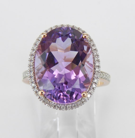 14K Rose Gold 9.54 ct Diamond and Amethyst Halo Engagement Ring Size 7.25