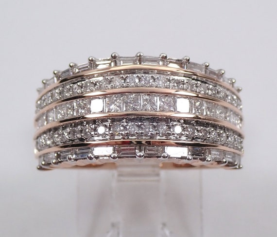 Rose Gold 1.00 ct Diamond Anniversary Ring Wedding Band Wide Cluster Size 7