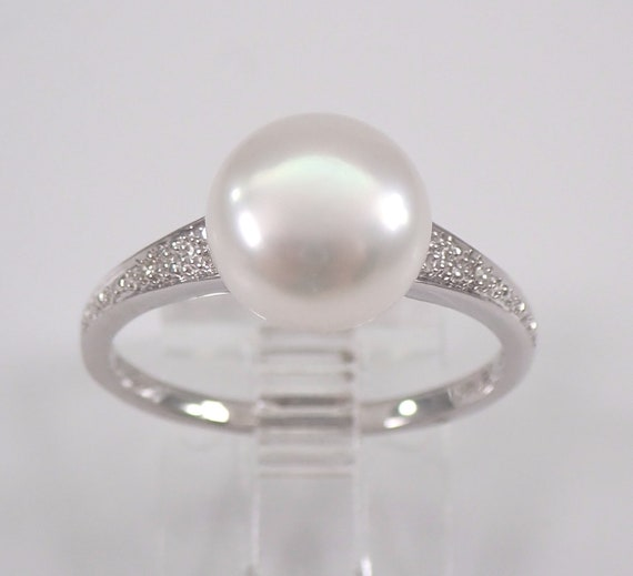 Pearl and Diamond Engagement Promise Ring 14K White Gold June Birthstone Size 7 FREE Sizing