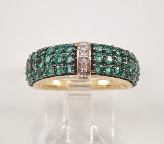 Emerald and Diamond Anniversary Band Wedding Ring Yellow Gold Size 7 Unique Ring FREE SIZING