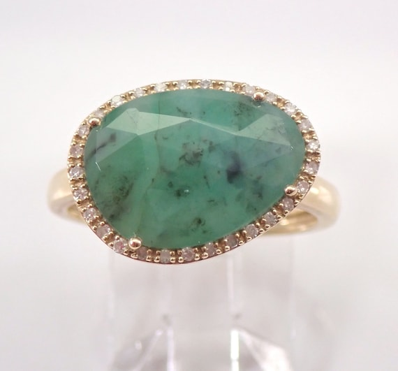Yellow Gold 2.20 ct Diamond and Emerald Slice Halo Engagement Ring Size 7 May Gemstone Birthstone FREE Sizing