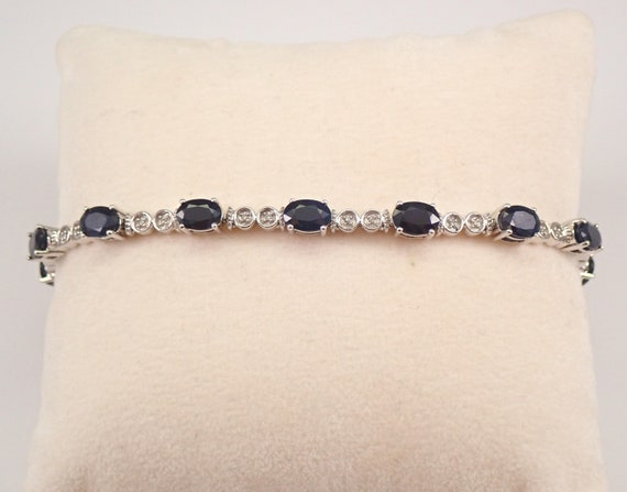 "White Gold 10.25 ct Sapphire and Diamond Tennis Bracelet 7.5"" September Gemstone"