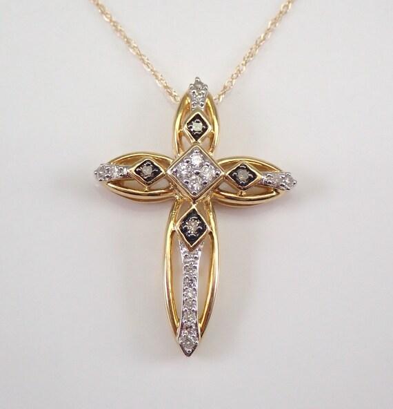 "Cognac Diamond Cross Pendant Necklace Yellow Gold 18"" Chain Religious Charm"