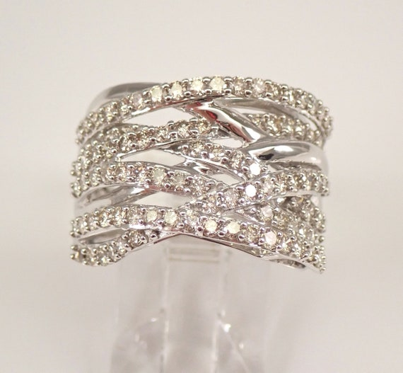 White Gold 1.50 ct Diamond Crossover Ring Multi Row Anniversary Band Size 7 FREE Sizing