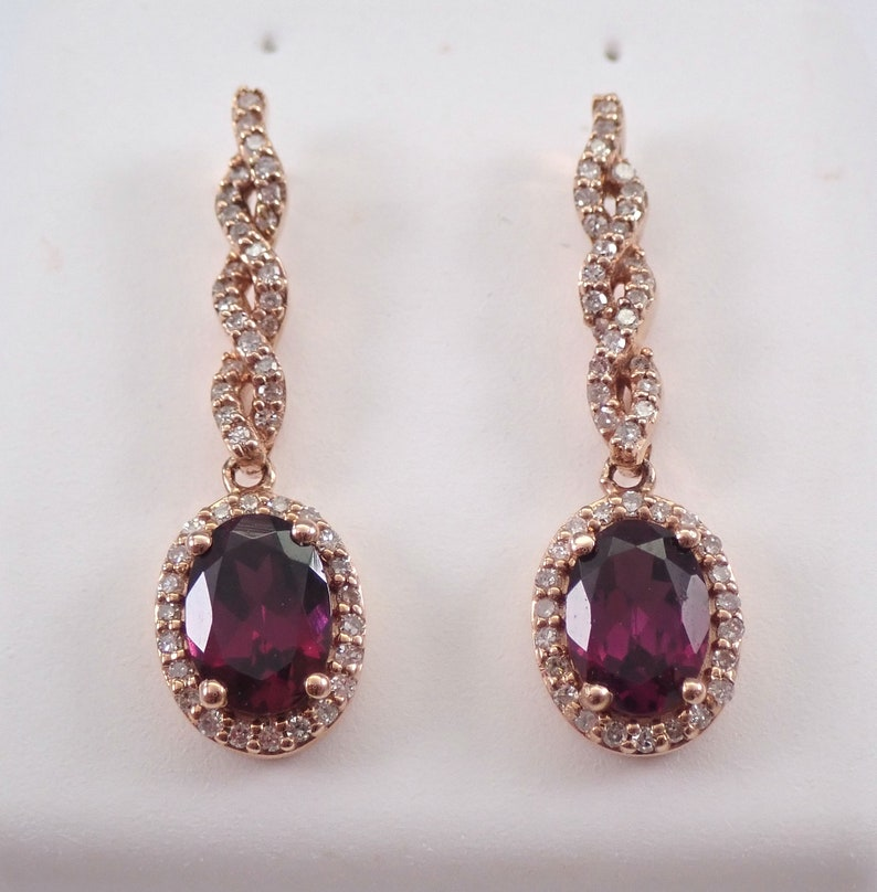 Rhodolite Garnet and Diamond Dangle Drop Halo Earrings 14K image 0