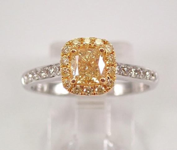 18K White Gold Fancy Yellow Canary Cushion Cut Diamond Halo Engagement Ring Size 7