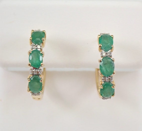 Yellow Gold Diamond and Emerald Hoop Earrings Hoops May Gemstone Graduation Gift
