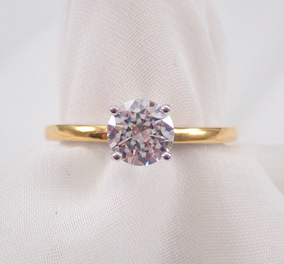 FOREVER ONE Round Hearts and Arrows Moissanite Solitaire Engagement Ring 14K Multi Color Gold