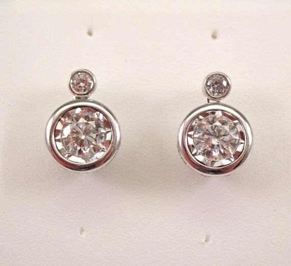 White Gold 1.00 ct Diamond Studs Round Halo Bezel Set Stud Earrings MUST SEE