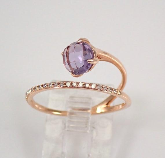Amethyst and Diamond Wraparound Ring Crossover 14K Rose Gold Size 7 February Gemstone