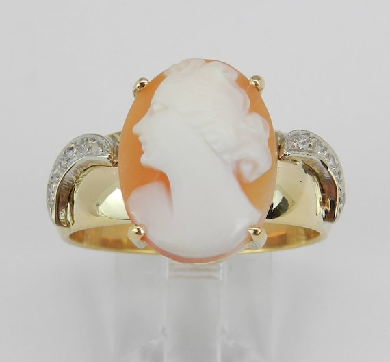 ARTCARVED Antique Diamond and Cameo Vintage Ring 14K Yellow Gold Size 10