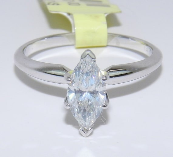 Marquise Solitaire Diamond Engagement Ring 14K White Gold .90 ct EGL Cert G SI1