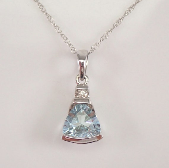 "Trillion Aquamarine and Diamond Drop Pendant Necklace White Gold 18"" Chain March Birthstone"