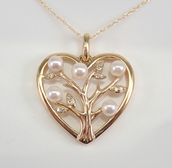 "14K Yellow Gold Pearl and Diamond Heart Pendant Tree of Life Necklace 18"" Chain"