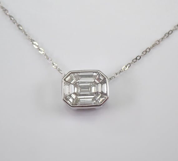 "14K White Gold Emerald-Cut Diamond Solitaire Pendant Cluster Necklace 17"" Chain"