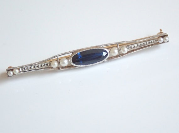 Antique Art Deco Platinum and 14K Gold Sapphire and Seed Pearl Brooch Stick Pin Circa 1920's