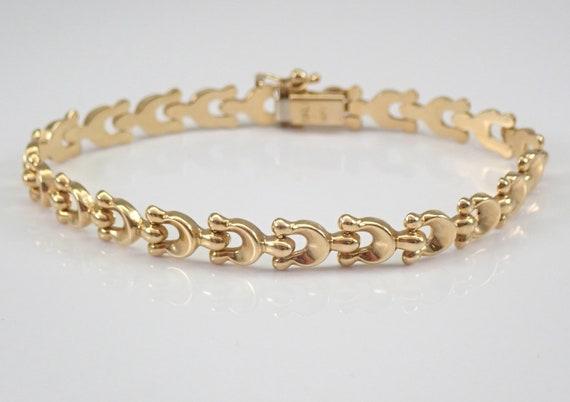 "Vintage Estate 14K Yellow Gold Horseshoe Bracelet 7"" Good Luck"
