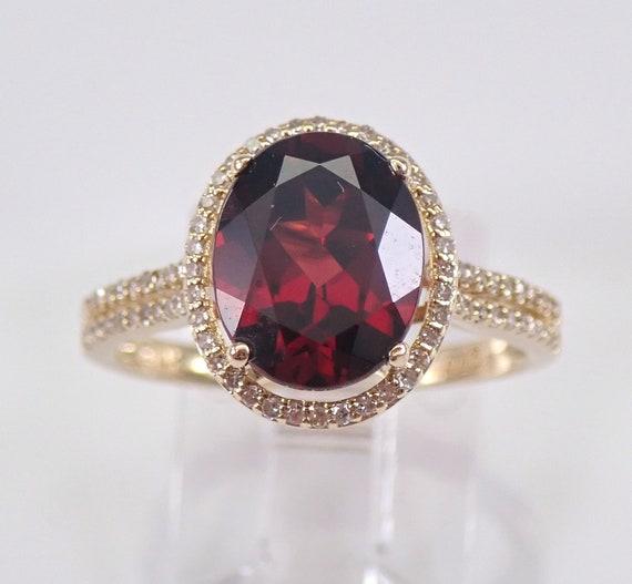 Garnet and Diamond Halo Engagement Ring 14K Yellow Gold Size 7 January Birthstone