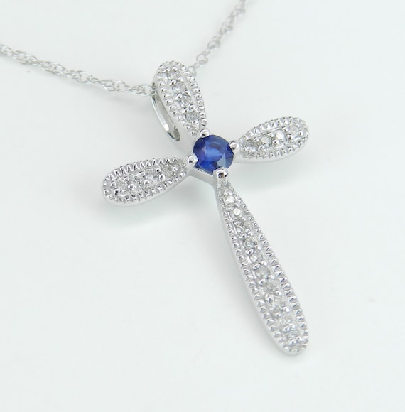 "SUPER SALE! Diamond and Sapphire Cross Pendant Necklace 18"" Chain White Gold Religious Charm"