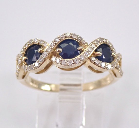 Diamond and Sapphire Wedding Ring Anniversary Three Stone Band Yellow Gold Size 7 FREE Sizing