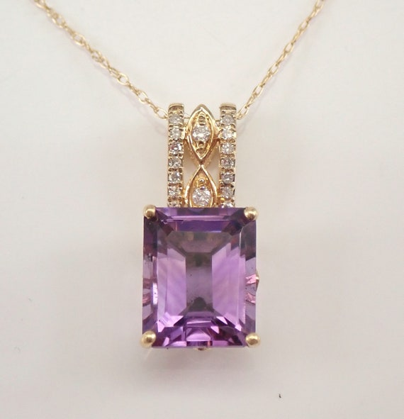 """Yellow Gold 2.70 ct Amethyst and Diamond Pendant Necklace 18"""" Chain February Gemstone"""