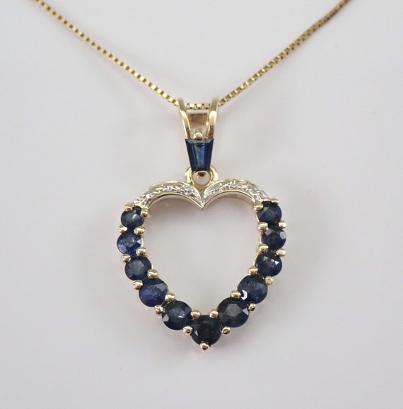 "14K Yellow Gold Diamond and Sapphire Open Heart Pendant Necklace Chain 18"" September Birthstone"