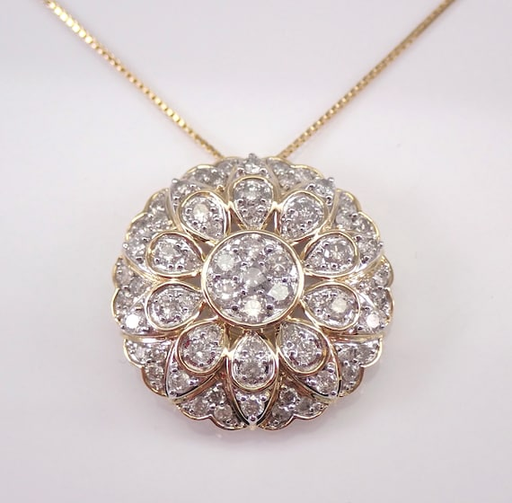 "Yellow Gold 1.00 ct Diamond Cluster Pendant Necklace Chain 18""  FREE SHIPPING"