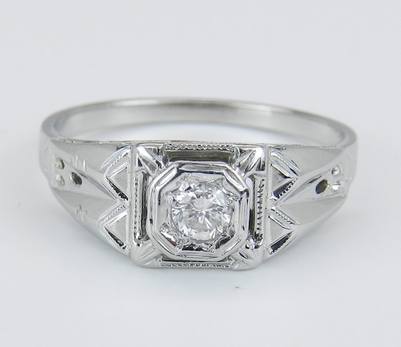 Solitaire Diamond Engagement Ring Antique Art Deco Genuine 18K White Gold Size 5.75