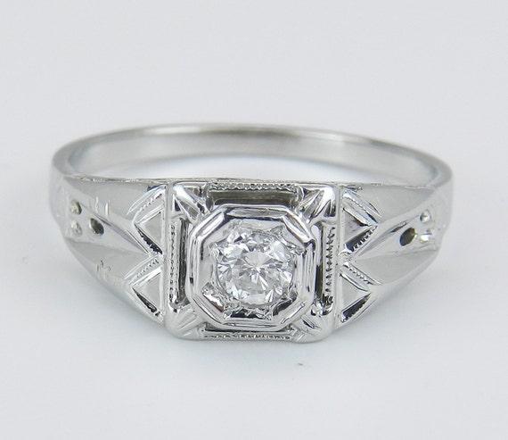 Solitaire Diamond Engagement Ring Antique Art Deco Genuine 18K White Gold Size 5.75