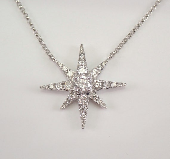 "14K White Gold Diamond STAR Cluster Pendant Snowflake Necklace 18"" Chain"