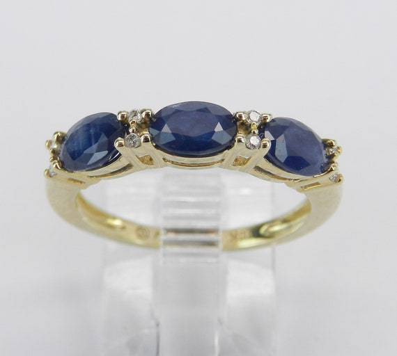 1.58 ct Diamond and Sapphire Wedding Ring Anniversary Band Yellow Gold Size 7