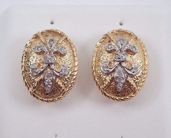 14K Yellow Gold Diamond Studs Cluster Stud Fleur De Lis Earrings Flower Button Earrings