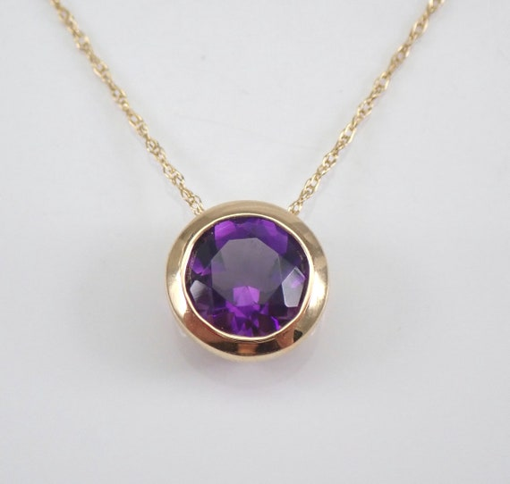"Amethyst Solitaire Necklace Bezel Set Pendant 18"" Yellow Gold Chain February Gemstone"