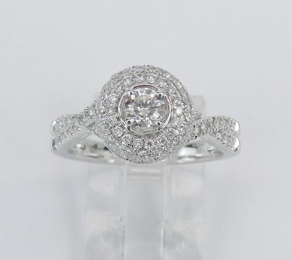 White Gold Halo Diamond Engagement Ring Genuine Round Brilliant