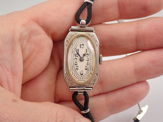 Antique Vintage Art Deco 14K White Gold HAFIS Ladies Bracelet Watch