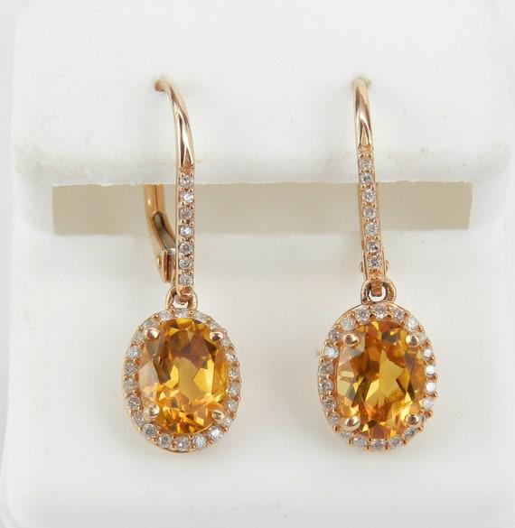 14K Rose Gold Diamond and Citrine Halo Drop Earrings November Birthstone